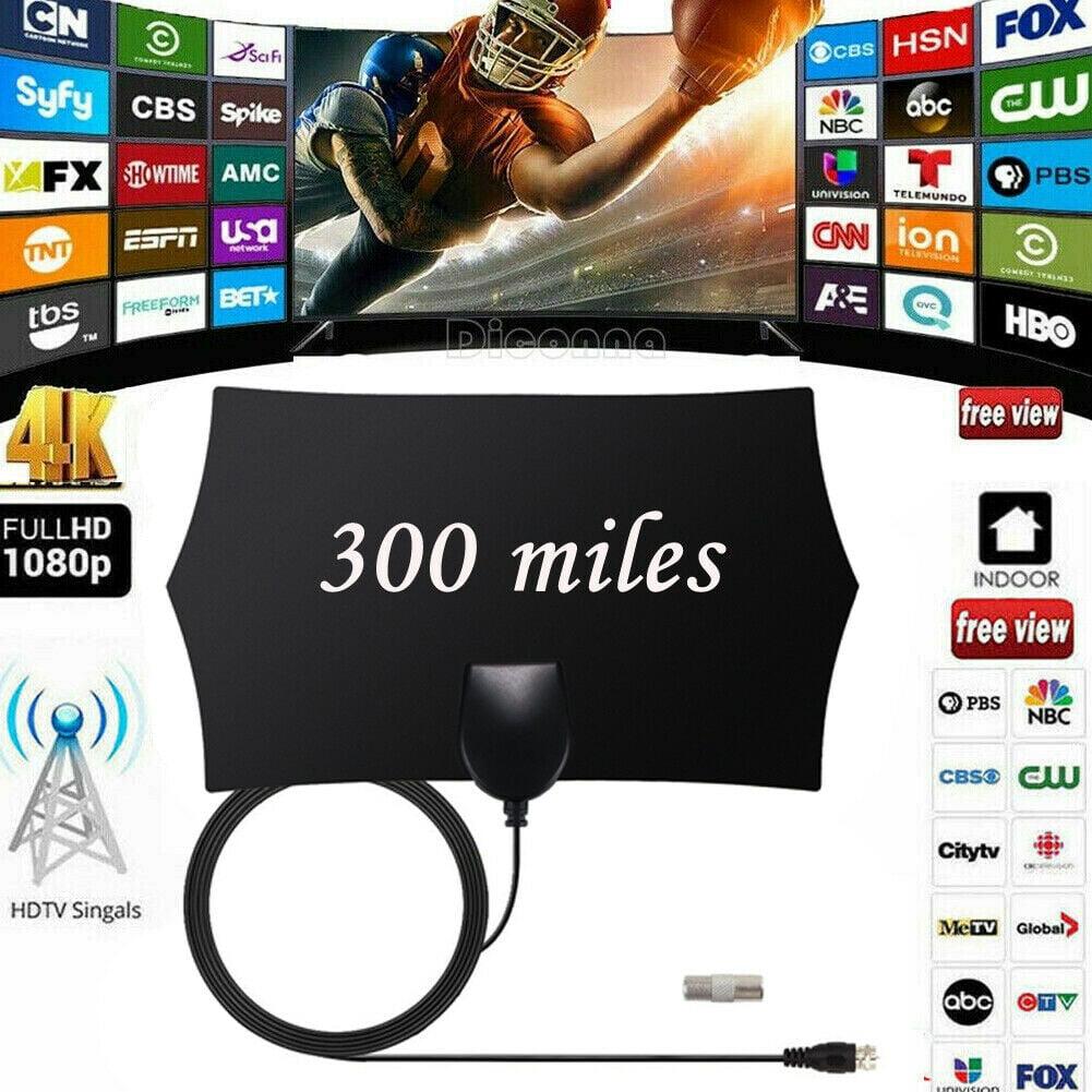Digital TV Antenna 300 Miles Signal Booster Amplifier Indoor HDTV 4K 1080P HD US