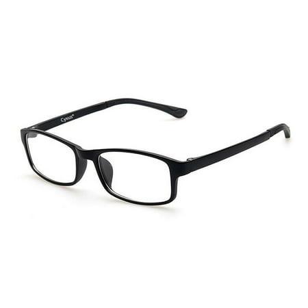 Cyxus TR90 Ultralight Computer Glasses for Blocking Blue Light UV Reduce Eyestrain Headache, Transparent Lens Black Frame Gaming (Lens Transparent Black Frame)