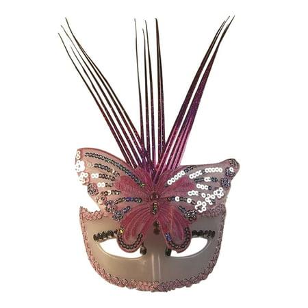 Mardi Gras Fancy Pink Silver Sequin Venetian Half Eye Mask Masquerade Adult ()