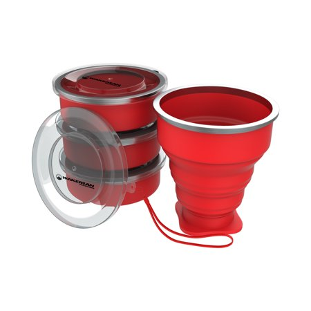 Collapsible Camping Cups- BPA Free, FDA Approved Reusable 6 Oz Drink Cups for Camping, Fishing, Picnics, More by Wakeman Outdoors (4 Pack,