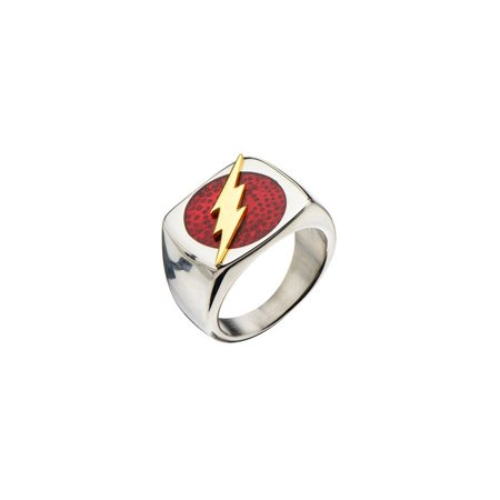 DC Comics The Flash Raised Bolt Stainless Steel Ring | 14](Flashing Ring)