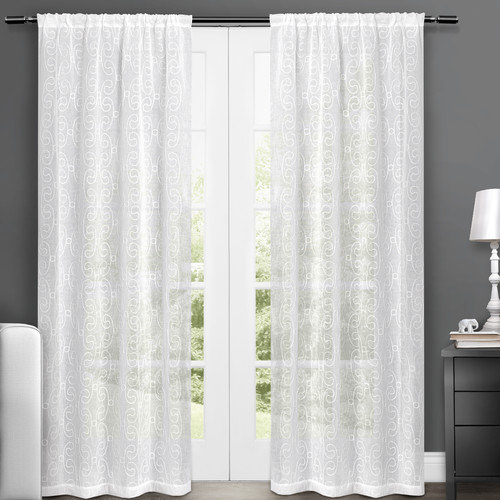 """Exclusive Home Zurich Embroidered Semi-Sheer Rod Pocket Window Curtain Panels, 50"""" x 84"""", White, Set of 2"""