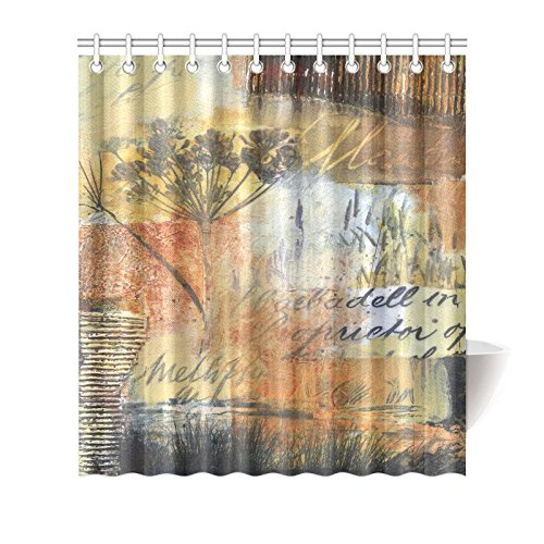 GCKG Fall Autumn Collage Art Shower Curtain Hooks 66x72 Inches Yellow Orange Golden Warm Colors Fabric Painting Of Reeds Vintage