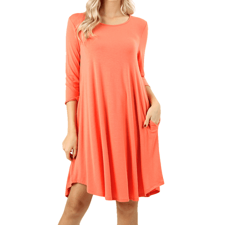 Women 3/4 Sleeve Round Hem A-Line Tunic Dress with Side Pockets