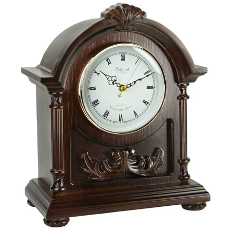 Bedford Clock Collection Wood Mantel Clock with Chimes (Mantel Clocks Chime)