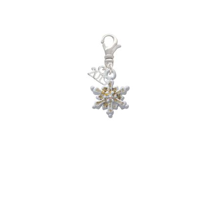 Ab Crystal Clip (White Snowflake with Glitter and Clear AB Crystal - 2019 Clip on)