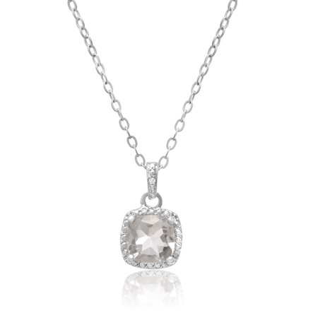 - 2 Carat Cushion Cut Green Amethyst and Halo Diamond Necklace, Platinum Overlay, 18 Inches