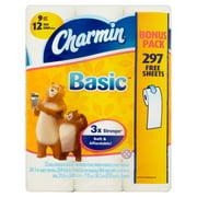 Charmin Basic Bathroom Tissue Rolls, 12 count