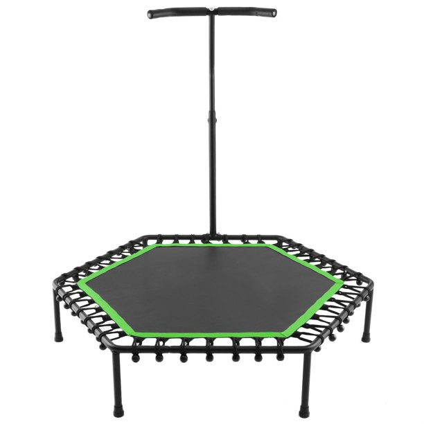 Healthy Fitness Hexagon Mini 50 Inch 220lbs Load Indoor Trampoline W/ Adjustable T Handle For Children/Adults