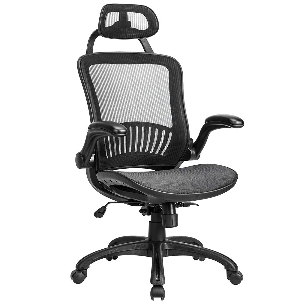 Mesh Executive Chair High Back With Adjustable Headrest And Padded Flip-Up  Arms - Walmart.com
