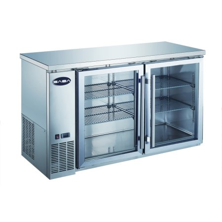 Heavy Duty Commercial Stainless Steel Back Bar Cooler with 2 glass doors (24