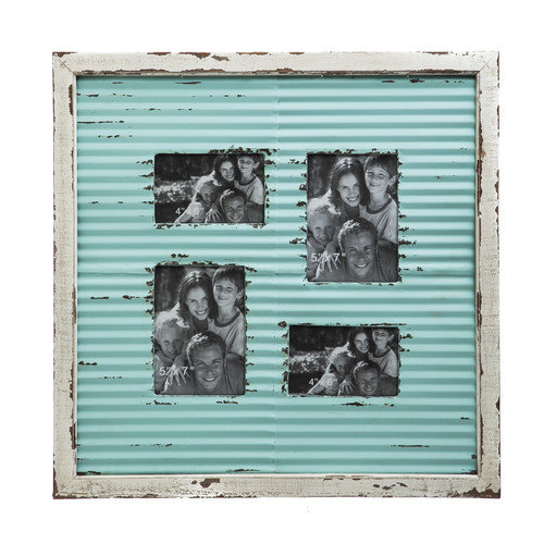 Evergreen Enterprises, Inc Corrugate Metal with Distressed Wood Picture Frame
