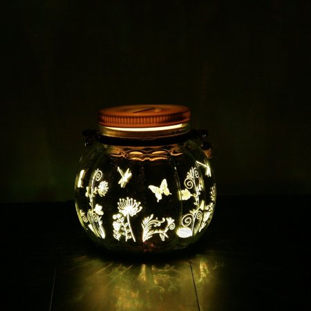 Candle Choice Mason Jar Light Indoor Outdoor Waterproof Lantern. 2 AA Battery Operated Jar Light with Remote and Timer. Butterfly and Flowers Design - Battery Operated Outdoor Chandelier