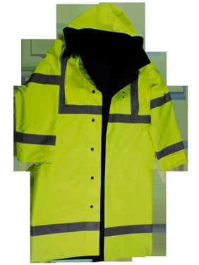 "petra roc lrc-48rv-c3-5x 48"" rain coat waterproof, reversible lime/black, ansi class 3, w/detachable hood & side slits, 5x"