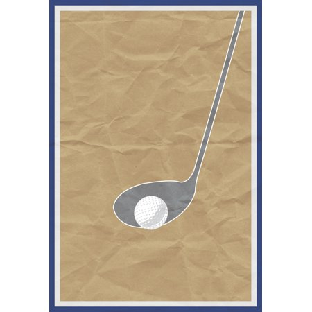 Golf Ball Gray Golf Club Old Brown Paper Background Print Art Sports Home Decoration Inspirational Motivational Poster (Golf Club Decorating Ideas)