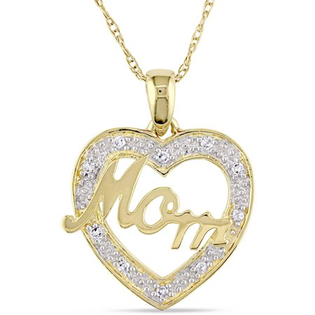 10kt Two-Tone Gold 0.05ct TDW Diamond Heart Mom 17 Pendant
