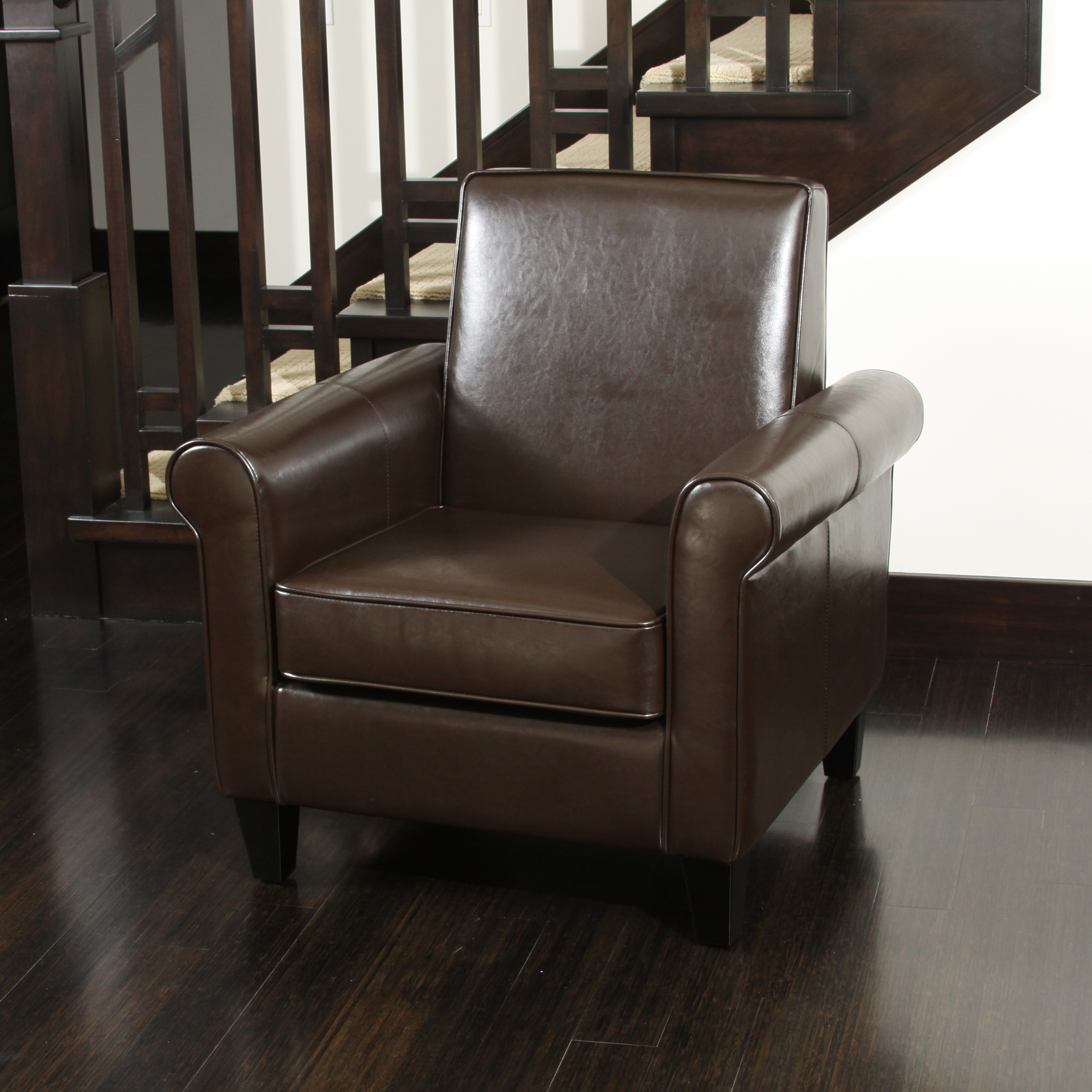 Ector Brown Bonded Leather Club Chair