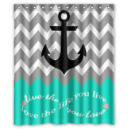 GreenDecor Infinity Live The Life You Love Love The Life You Live Chevron With Nautical Anchor Turquoise Waterproof Shower Curtain Set with Hooks Bathroom Accessories Size 60x72 - Nautical Curtain