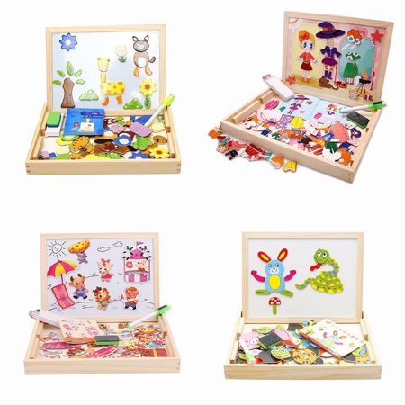 Halloween Crafts And Games For Toddlers (Akoyovwerve 100-Piece DIY Wooden Puzzle Jigsaw Baby Kids Training Toy, Double-Sided Magnetic Drawing Board Puzzle for Kids Christmas Best Gifts, Size)