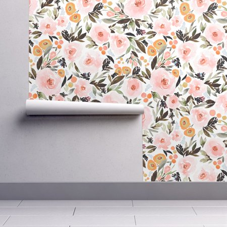 - Peel-and-Stick Removable Wallpaper Floral Floral Boho Berries Leaves Pink Gold