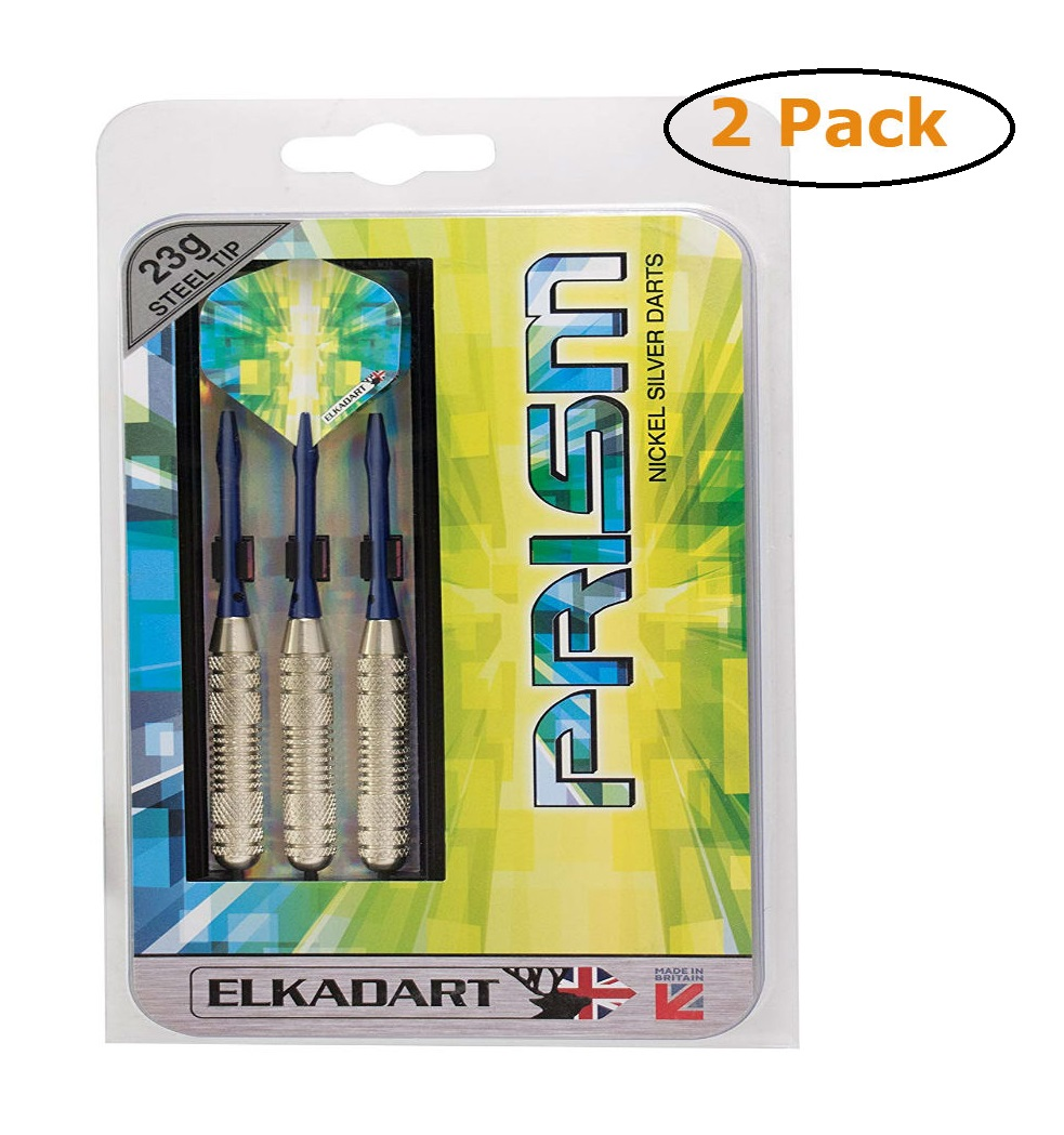 Elkadart Prism Ringed Silver Steel Tip Darts 23 Grams - Pack of 2