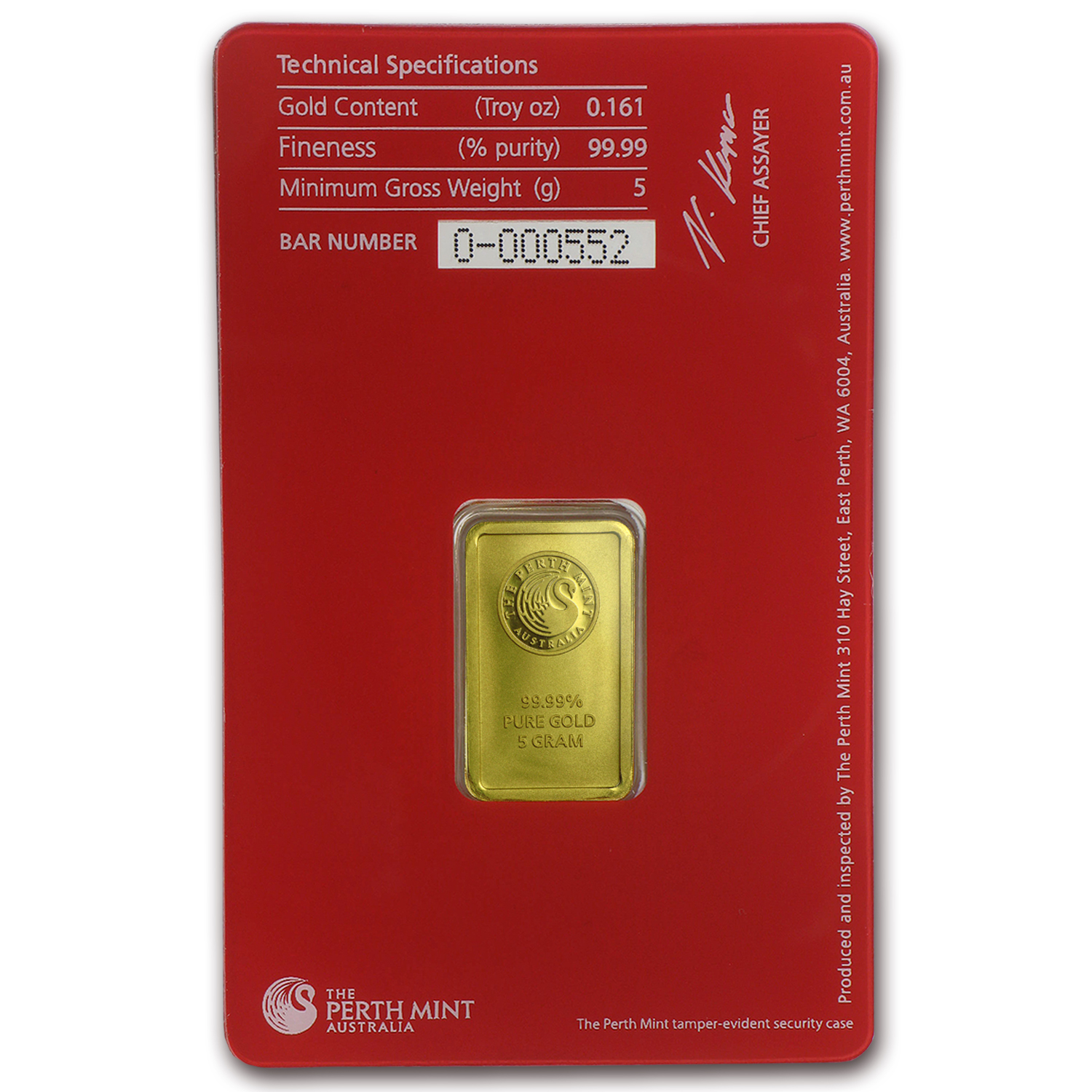 5 gram Gold Bar - Perth Mint Oriana (In Assay) - Walmart.com