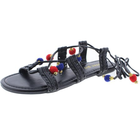 Madden Girl Womens Baliee Faux Leather Ankle Wrap Flat Sandals - Off Madden Girl