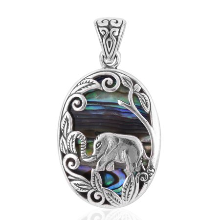 Elephant Pendants (925 Sterling Silver Fancy Abalone Shell Elephant Pendant Necklace for Women and Girls Jewelry)