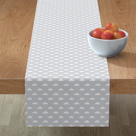 Image of Table Runner Mod Baby Clouds Sky Nursery Cotton Sateen
