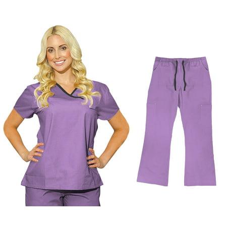 Medgear Womens Fitted Scrubs Set  Top   Cargo Pants  Medical Uniform 7870