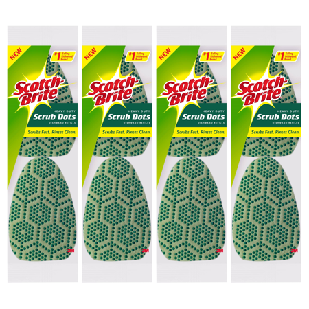 Scotch-Brite Dishwand Refill Heads, 8 Count, Heavy Duty Scrub Dots (Green Scrubber)