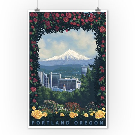 Portland, Oregon - Roses and City - Lantern Press Artwork (9x12 Art Print, Wall Decor Travel Poster) - Robe City