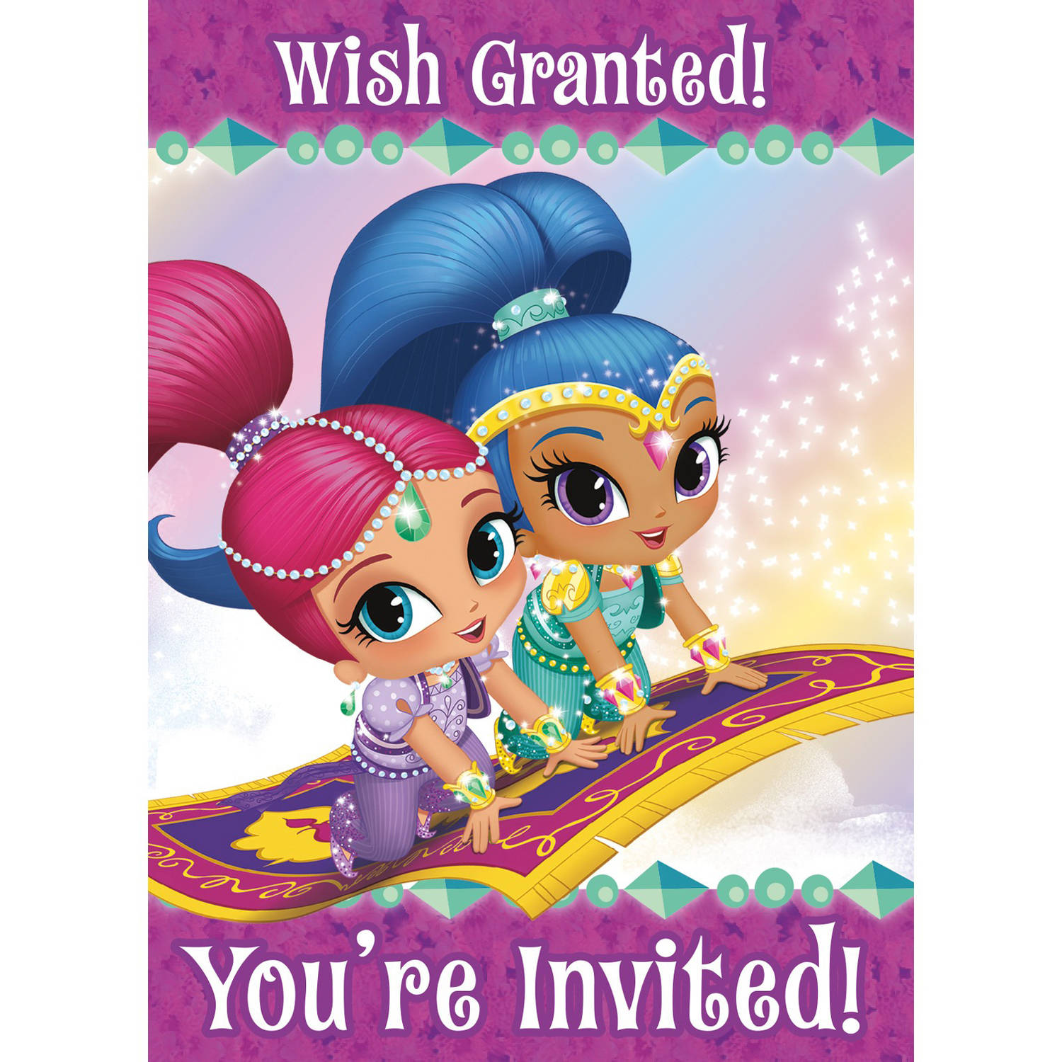 Shimmer Shine Invitations 8 Pack Walmart Com