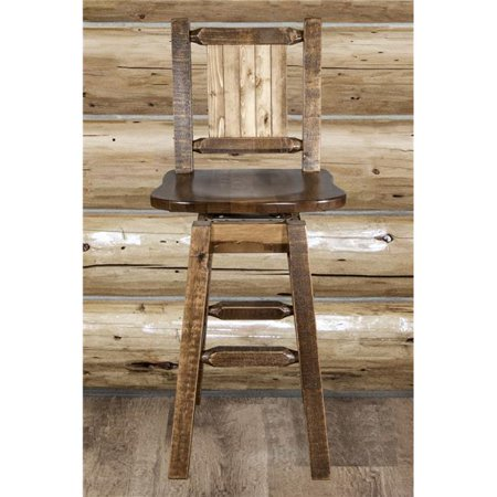 Laser Engraved Beer - Montana Woodworks Homestead Collection Counter Height Barstool w/ Back & Swivel w/ Laser Engraved Bear Design, Stain & Lacquer Finish