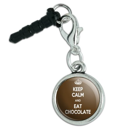 Keep Calm And Eat Chocolate Mobile Cell Phone Jack Anti-Dust Charm Cherry Chocolate Cell Phone