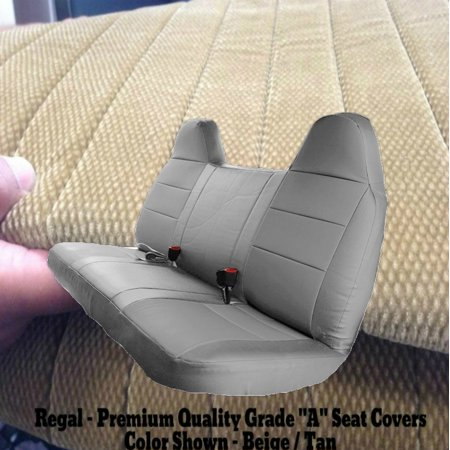 Seat Cover for F23 Ford F150 F250 F350 F450 F550 Year 1992 - 2010 Full Size Bench Molded Headrest Fitted Beige Tan ()