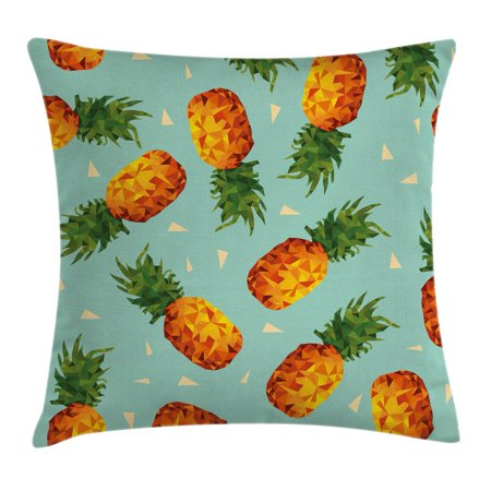 Retro Throw Pillow Cushion Cover, Poly Style Pineapples Motif Vintage Beach Summer Modern Illustration, Decorative Square Accent Pillow Case, 18 X 18 Inches, Seafoam Olive Green Orange, by Ambesonne (Decorative Pineapple)