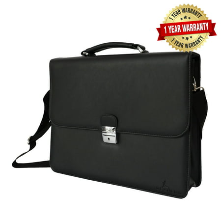 Embassy Genuine Briefcase (DEERLUX Black Genuine Leather Laptop Briefcase, Mens Business Messenger Bag)