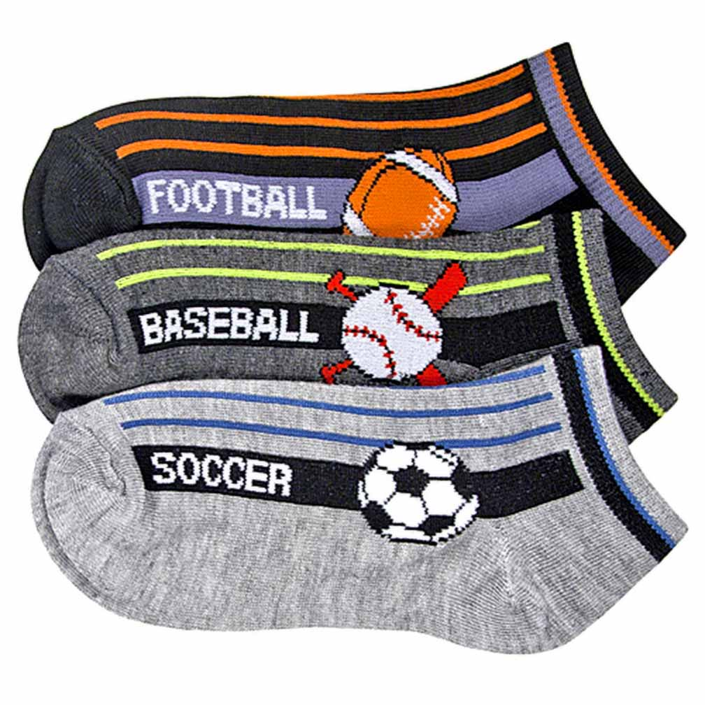 Luxury Divas Boys Sports Ball Game Print 3 Pack Ankle Socks
