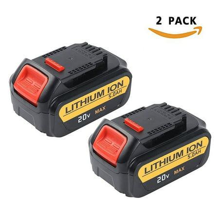 Enegitech 2 Pack 20V 5.0Ah Lithium Battery for Dewalt Max XR DCB204 DCB205 DCB205-2 DCB200 DCB180 DCD985B DCD771C2 DCS355D1 DCD790B High Capacity Cordless Power Tools (20v Max Dewalt Battery Packs)