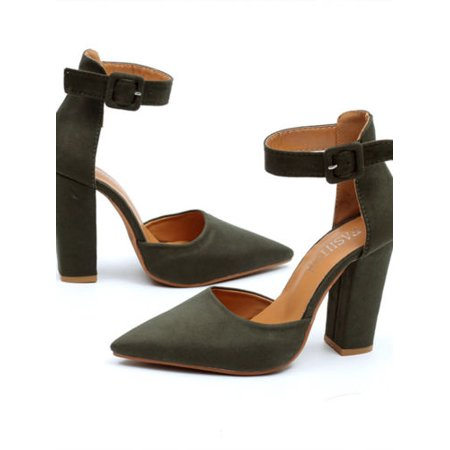 ea803b487ba Womens Pointed Toe Sandals Block High Heels Pumps Ankle Strappy Shoes -  Walmart.com