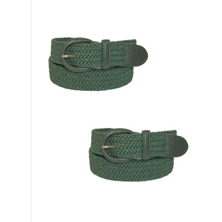 Men's Elastic Braided Belt with Covered Buckle (Pack of
