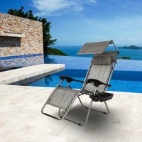 Akoyovwerve Folding Zero Gravity Chair with Canopy Patio Chair Lounge Lawn Chairs with Awning Leisure Chair Gray