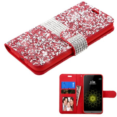 For LG G5 Phone Case Wallet Flip Leather Wallet Bling Cover Case with Card Slot & Photo Display by ASMYNA - Red/Silver Leather Photo Cover