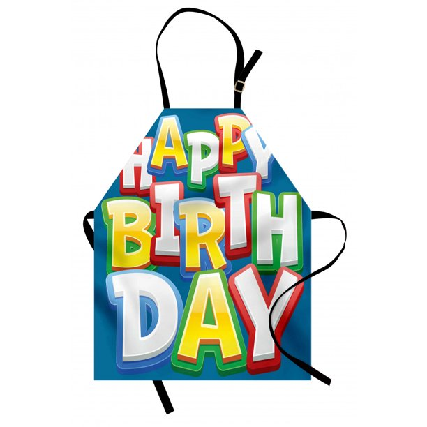 Kids Birthday Apron Rainbow Colored Happy Birthday Quote Typography On Blue Color Backdrop Print Unisex Kitchen Bib Apron With Adjustable Neck For Cooking Baking Gardening Multicolor By Ambesonne Walmart Com Walmart Com
