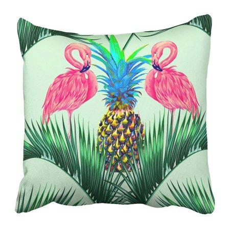 BPBOP Pink Flamingos Exotic Birds Palm Leaves Trees Pineapples Jungle Floral Tropical Pattern Bright Pillowcase 18x18 inch (Live Pineapple Palm Tree)