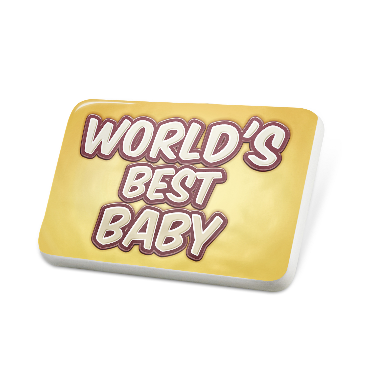 Porcelein Pin Worlds best Baby, happy yellow Lapel Badge � NEONBLOND by NEONBLOND