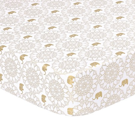 The Peanut Shell Baby Girl Fitted Crib Sheet - Little Peanut Gold Medallion and Elephant - 100% Cotton Sateen, Fits Standard 52 by 28 Inch Mattress ()