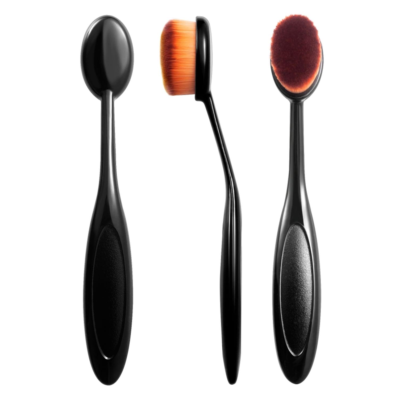 flat oval makeup brush. zodaca small head oval cream puff cosmetic toothbrush shaped powder makeup foundation brush - black/brown walmart.com flat