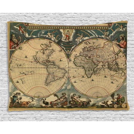 - Vintage Tapestry, Dated Old Map of Ancient World Historic Geography Theme Antique Grungy Design Print, Wall Hanging for Bedroom Living Room Dorm Decor, 60W X 40L Inches, Multicolor, by Ambesonne